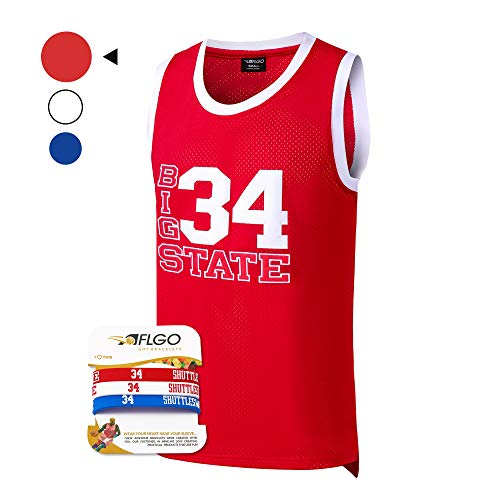 AFLGO Jesus Shuttlesworth #34 Lincoln High School Basketball Jersey S-XXXL Blue, 90's Clothing Throwback Costume Apparel Clothing Stitched - Top Bonus Combo Set with Wristbands (Red, XXL/54)