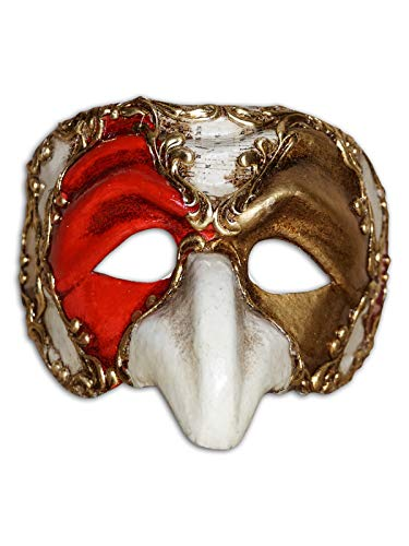 - Venetian Half Face Mask Pulcinella Ron for Men (Gold/red)