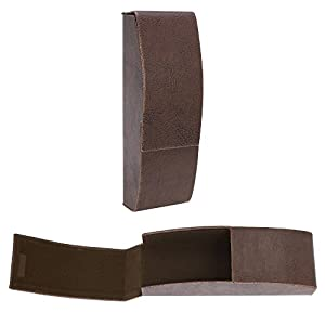 Flip Top Aluminum Glasses Case With Magnetic Closure - Slim Silhouette Style Protective Eyeglasses Holder with Felt Lining to Protect Frames - Chocolate Brown - by OptiPlix
