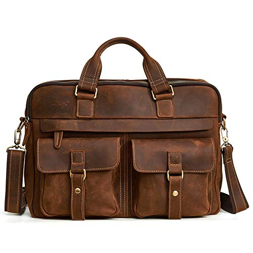 Leather Briefcase Deluxe Expandable - LIXUAN Leather Deluxe Mens Business Briefcase Laptop Shoulder Bag Waterproof Large Capacity Vintage 15 Inch Computer Laptop Notebook Crossbody Handbag Travel