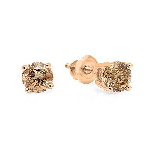 0.33 Carat (ctw) 14K Rose Gold Round Cut Champagne Diamond Ladies Stud Earrings 1/3 CT