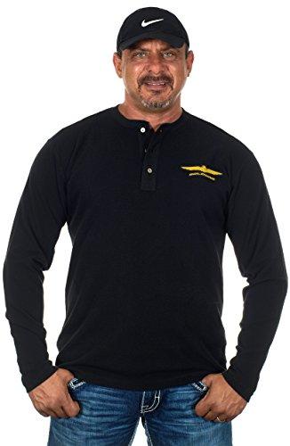 JH DESIGN GROUP Honda Gold Wing Mens Long Sleeve Henley Shirt (Large, Black) (Honda Motorcycle Shirts)