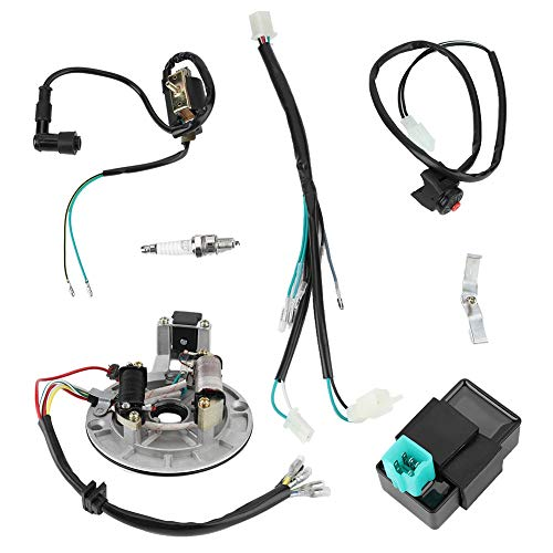 Duokon Electric Stator Engine Wiring Harness Loom,Electric Wiring Harness Kit CDI Ignition Coil Spark Plug for 50cc 90cc 110cc: