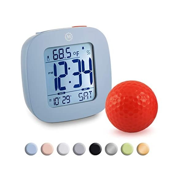 MARATHON CL030058BL Compact Alarm Clock with with Snooze, Light Feature, Temperature and Date - Blue - Batteries Included - EASY TO SET- Large and easily accessible primary buttons. Hold the top red alarm button for 3 seconds to activate and set the alarm time COMPACT- Compact and lightweight, measuring in at 3.1 x 1 x 3 in (L x W x H). LIGHT- Super illumination cool blue backlight. Button activated backlight is gentle on the eyes while providing maximum illumination. Display remains illuminated for approximately 5 seconds. - clocks, bedroom-decor, bedroom - 41JPvCJNynL. SS570  -