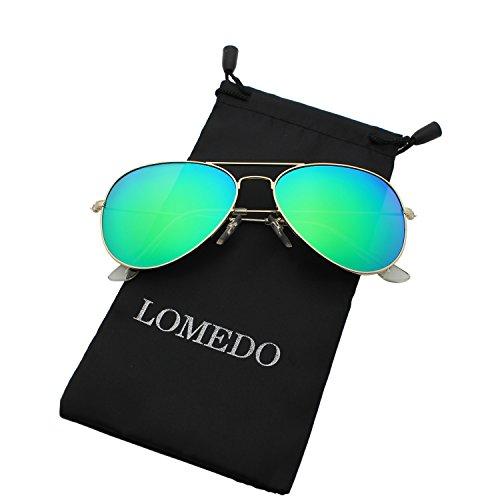 Premium Polarized Aviator Sunglasses for Women Green Mirrored W Flash - Mirrored Green Aviator Sunglasses