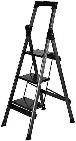 Taburete Escalera Paso Escalera Plegable for el Adulto, Negro 3 Escalera Plegable Taburete con apretón de la Mano/el Pedal, Multiusos escaleras fácil Almacenamiento.: Amazon.es: Hogar