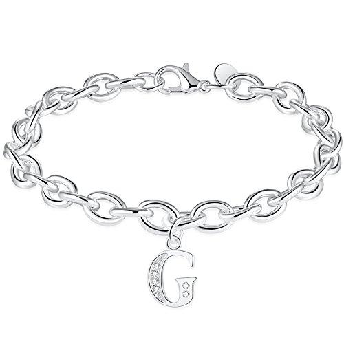 WIBERN Brand Jewelry Silver Tone Zircon Stone 26 Letters Alphabet G Initial Charm Link Name Bracelet for Lady Women (Alphabet G)
