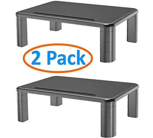 - 2-Pack Adjustable Monitor Stand with Storage Organization. Sturdy, Durable, No-Vibration Support. Convenient Slots for Tablet or Phone & Cables. Perfect Riser for Laptop, Printer. Stylish Black