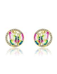 Neoglory Jewelry 14k God Plated Colourful Butterfly Long Hook Drop Earrings