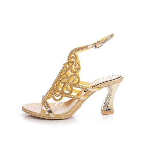 de de Zapatos Coreano Gama imitación Atractivas Cristal Sandalias Color Diamantes de Sandalias Alto de Diamante Oro tacón 39 de de Huecos Verano Alta tamaño Mujer Mujer de dqarZq