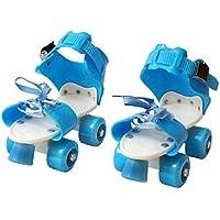 Nabhya Racer 4 Wheel Adjustable Skates Skating Shoes with Front Brakes Skates Quad Roller Skates (Blue)