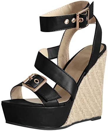 Thenxin Women`s Espadrille Wedge Sandal Ankle Straps Open Toe Adjustable Buckle High Heeled Sandals / Thenxin Women`s Espadrille Wedge Sandal Ankle Straps Open Toe Adjustable Buckle High Heeled Sandals