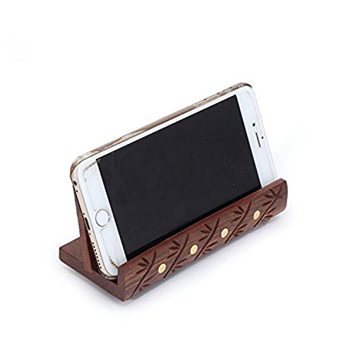 Batra Associates S B Arts Wooden Mobile Stand Holder Long From Wood And Brass Showpiece   Table Top Mobile Holder