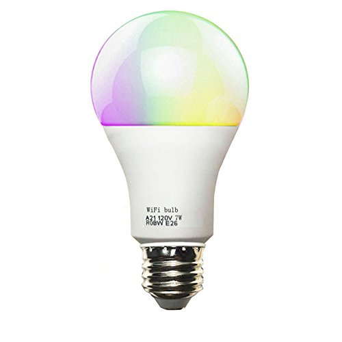 Smart WiFi Light Bulb LED Dimmable Multicolored Bulbs Smartphone App Control Light Bulb A19 RGBW for Home/Bar Decoration Light,Compatible with Alexa