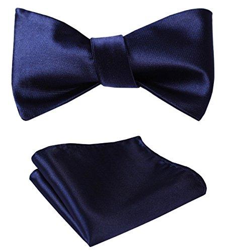 SetSense Men's Solid Jacquard Wedding Party Self Bow Tie Pocket Square Set Pure Navy Blue (Bow Tie Silk Navy)