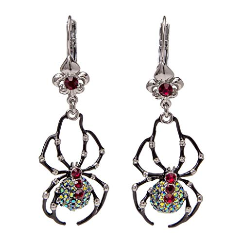 Ritzy Couture Women's Enamel Black Spider Special AB Crystal Drop and Dangle Leverback Earrings Ornament Halloween Charm (Silvertone). ()