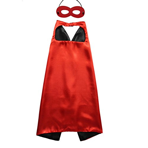 (So Sydney Superhero Princess Solid Color Cape & Mask Set Kids Halloween Costume (Black &)