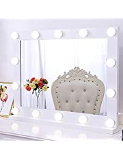"""Chende 31.5"""" X 23.6"""" Hollywood Vanity Mirror with Lights, Lighted Makeup Mirror with Touch Control Dimmer, Large Wall Mirror with 3 Color Lighting Modes"""