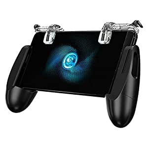 GameSir F2 Mobile Game Controller, Sensitive Shoot Fire and Aim Buttons for PUBG//Knives Out/Rules of Survival Gaming Trigger for 4.5in-6.4in Android iOS Phone Grip (Black Clean)