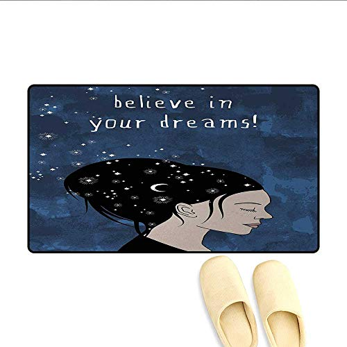 - Door-mat,Portrait of Woman with Dark Hair and Moon Stars Dream Believer Quote Feminine Art,Door Mats for Inside Bathroom Mat Non Slip,Blue,Size:24