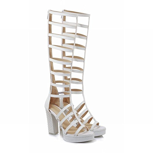 Mee Shoes Women's Chic High Heel Zip Sandals White QHfpjmVGC