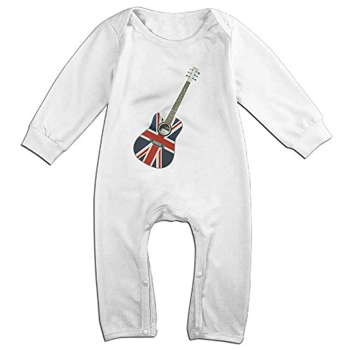 Crystal MOO Long-Sleeve Baby Bodysuit Custom Baby Clothes UK Flag Guitar Toddler Onesies Baby Romper