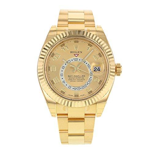 NEW Rolex Sky Dweller 18K Yellow Gold Mens watch 326938 (Rolex Sky Dweller Rose Gold Leather Chocolate Dial)