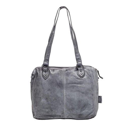 VOi Leder Handtasche 21080 Henkeltasche Ledertasche Vintage Leder Bowling Bag Schultertasche Schwarz