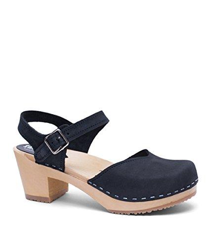Sandgrens Swedish Wooden High Heel Clog Sandals for Women | Black Victoria, size US 7 EU 37 by Sandgrens