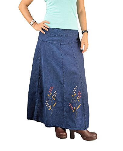 (Women's Long Denim A-line Maxi Skirt Thai Cotton Wrap Navy Blue Embroidered Sarong Full Length)