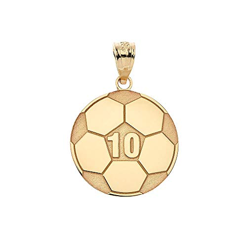 (Sports Charms 10k Yellow Gold Customized Soccer Ball Pendant with Your Name and Number)