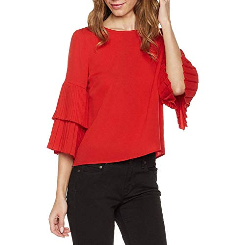 UONQD Women Blouse Ruffle Sleeve Solid Color Top O Neck Layered Shirt(Medium,Red) ()