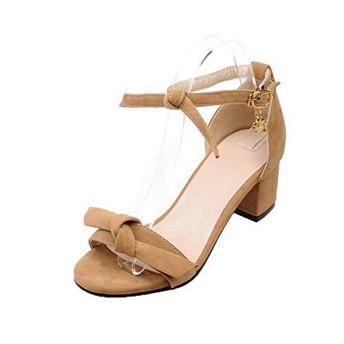 Heels Solid Kitten VogueZone009 CCALP014928 Frosted Toe Sandals Yellow Women Open Buckle w4Zxw1R60q