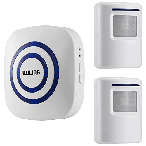 WJLING Motion Sensor Alarm, Wireless Home Security Driveway Alarm, Motion Sensor Detect Alert 2 Sensor 1 Receiver -38 Chime Tunes - LED Indicators