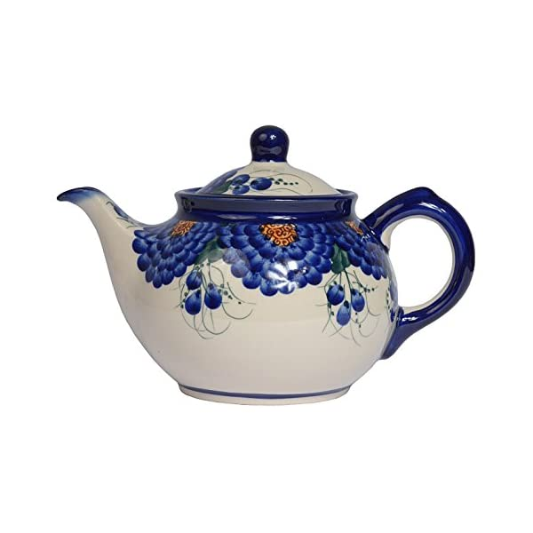 Traditional Polish Pottery, Handcrafted Ceramic 4-Cup Teapot with Lid (850ml), Boleslawiec Style Pattern, H.102.Arts