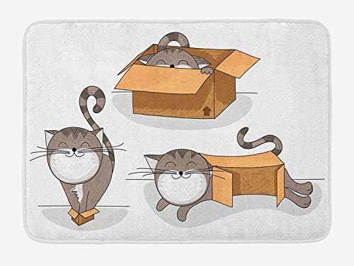 Alfombra de baño para gatos, gato de dibujos animados que intenta cajas de cartón de diferentes tamaños para el acompañante doméstico, alfombra de baño de felpa con respaldo antideslizante, arena marr: Amazon.es: