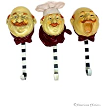 American Chateau Set 3 Kitchen Chefs Fat French Chef Decor Wall Hooks Hangers Bistro Home