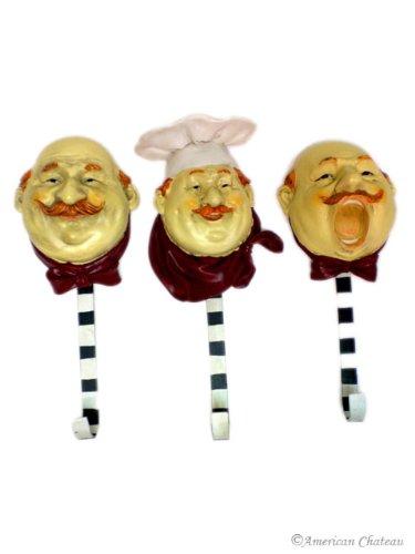 Set 3 Kitchen Chefs Fat French Chef Decor Wall Hooks Hangers Bistro Home - Chef Theme Kitchen Decor