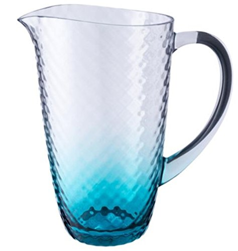 Hammered effect acrylic Plastic Large Drink Jug with Handles turquoise tint Rammento