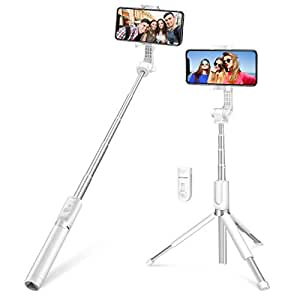Selfie Stick Bluetooth, BlitzWolf 90cm Super Long Length Extendable Selfie Stick with Wireless Remote and Tripod for iPhone X/iPhone 8/8 Plus/iPhone 7/iPhone 7 Plus/Galaxy S9/S9 Plus/Note 8/S8/S8 Plus/More(Extended Version)