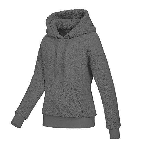 Vendita Donna Felpa Tasche con Camicetta CICIYONER Outwear Cappotto Calda Solid Inverno Cappuccio Calda Scuro di Lana qRwdEd
