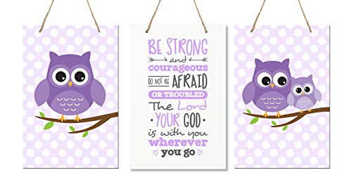 LifeSong Milestones Be Strong and Courgeous 3 Piece Owl Set Joshua 1:9 Wall Decorations Signs for Kids, Bedroom, Nursery,Baby's Boys and Girls Room, Size 8