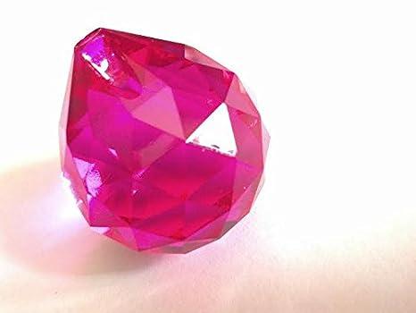 Lampadario Rosa Cristallo : Lampadario di cristallo fucsia sfaccettato mm ball prism feng