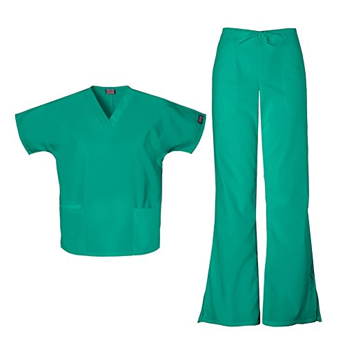 - Cherokee Women's Workwear Top 4700 & Flare Leg Drawstring Pant 4101 Scrub Set (Surgical Green - XX-Small)