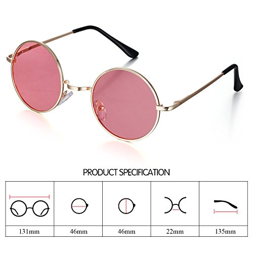 f045cf46c2 Menton Ezil Classic Small Round Fashon Metal Ozzy Elton Color Tint Style Polarized  Sunglasses for Mens
