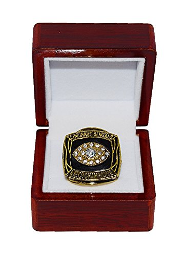 CINCINNATI BENGALS (Boomer Esiason) 1988 AFC WORLD CHAMPIONS (Super Bowl XXIII) Vintage Rare & Collectible Replica National Football League Gold NFL Championship Ring with Cherrywood Display Box