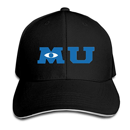 Monsters University Merchandise Hip Hop Baseball Cap Golf Trucker Baseball Cap Adjustable Peaked Sandwich Hat Black (Monster University Baseball Hat)