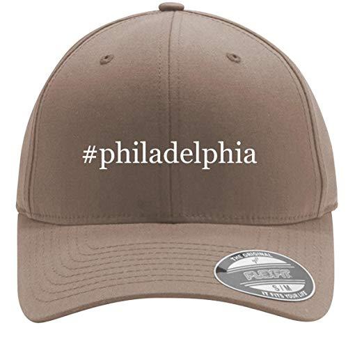 #Philadelphia - Adult Men's Hashtag Flexfit Baseball Hat Cap, Khaki, Large/X-Large