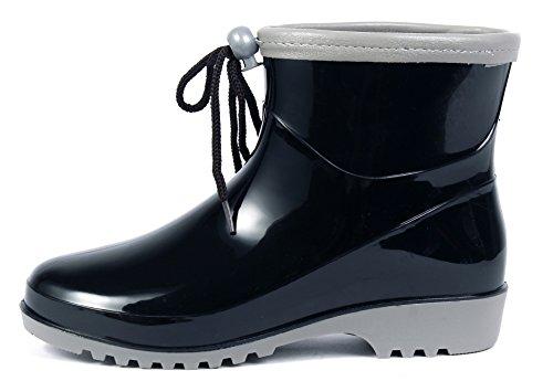 Stivali Pu Donna Tonda Basse Stivaletti Nero Punta Shoes Gomma Classic Ageemi Adulto Xqwv5