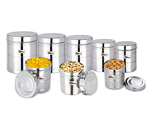 EBun-Stainless-Steel-Set-of-8-Canisters-Containers-Ubha-Dabba-with-lid-for-Kitchen-Storage-3005006508501200140019502500-GMS-Stripes-Design